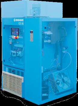 Un compressore a vite raffreddati a iniezione d'olio con essicatore integrato del marchio Boge