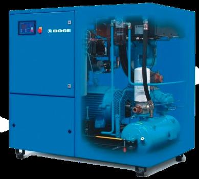 Un compressore a vite raffreddati a iniezione d'olio del marchio Boge