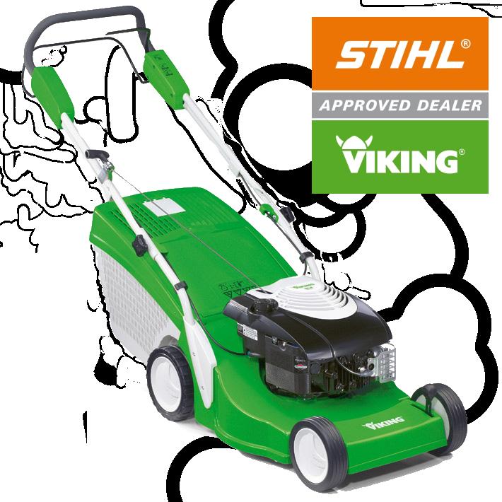 Una rasaerba Viking. Viking è un marchio Stihl. Geniomeccanica è rivenditore autorizzato Stihl e Viking